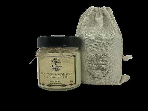 Ръчна изработка, натурална соева свещ с етерично масло Евкалипт от 4A Natural